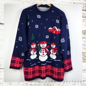 Sweaters - Ugly Navy & Red Christmas Sweater Snowman & Plaid